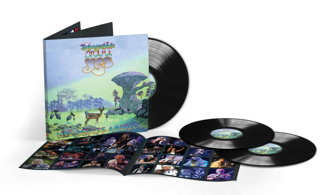 Yes Topographic Drama: Live Across America, with cover art and logos by Roger Dean and package design and photography by Gottlieb Bros.
