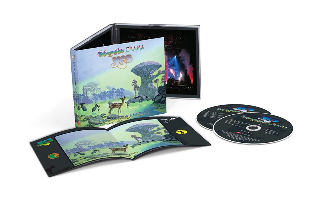 Yes Topographic Drama: Live Across America CD package, with cover art and logos by Roger Dean and package design and photography by Gottlieb Bros.