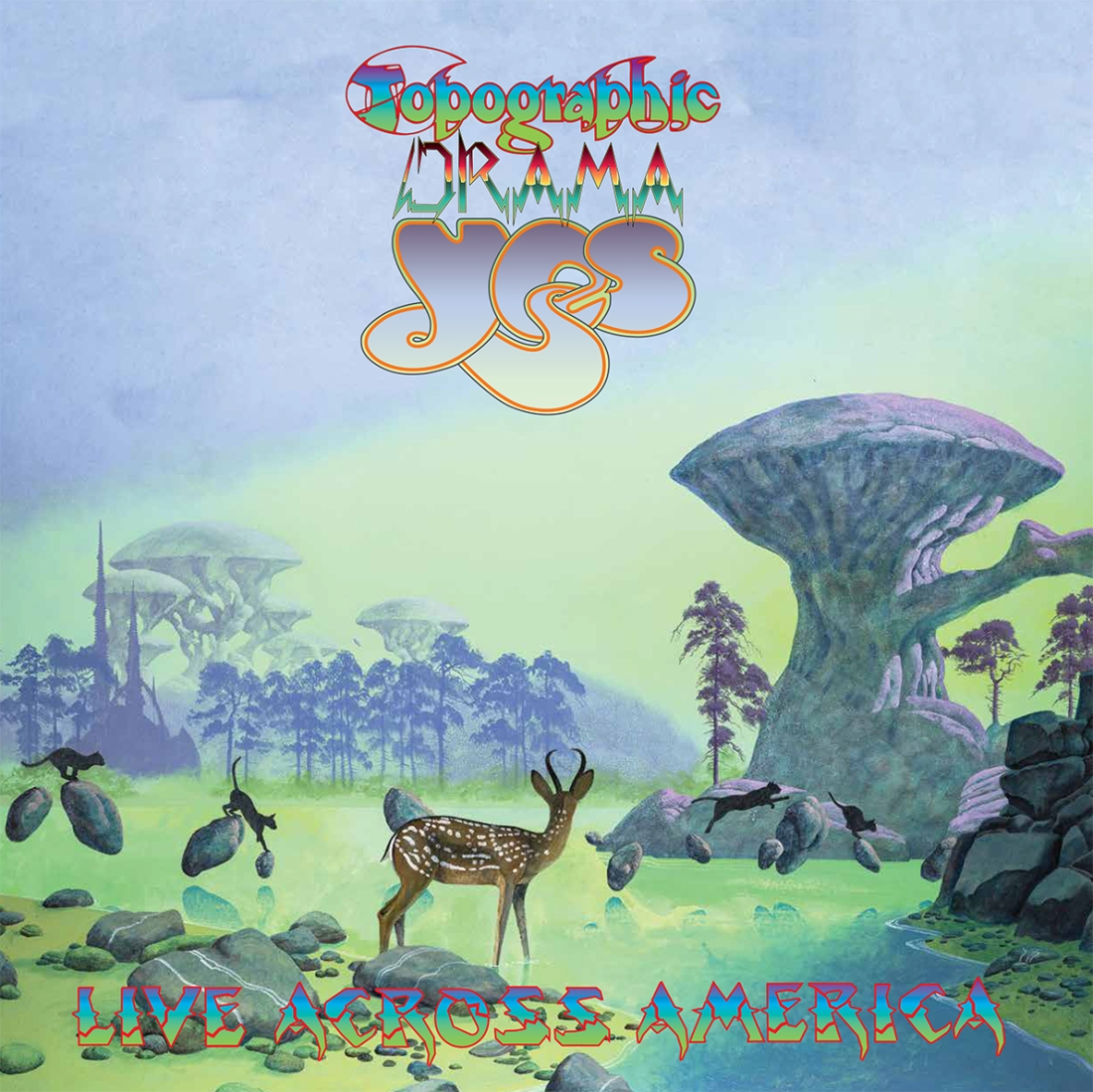 Yes Topographic Drama: Live Across America album cover by Roger Dean. Package Design by Gottlieb Bros.