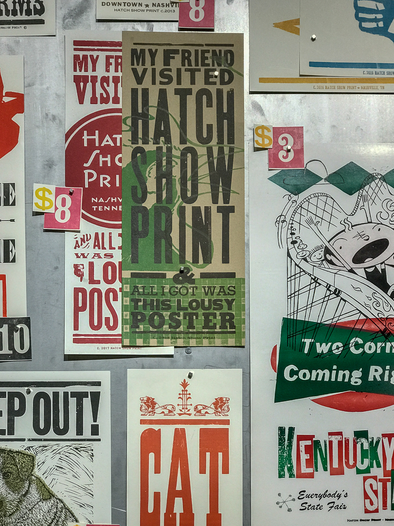 A detail photo of the Hatch Show Print gift shop wall