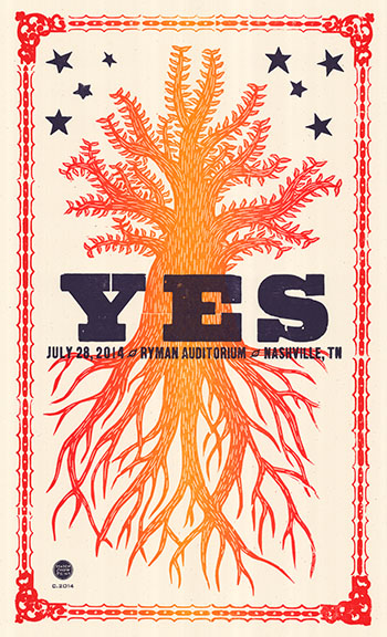 Hatch Show Print concert poster from Yes' performance at Ryman Auditorium, Nashville Tennessee on July 28, 2014, from the collection of Gottlieb Bros.