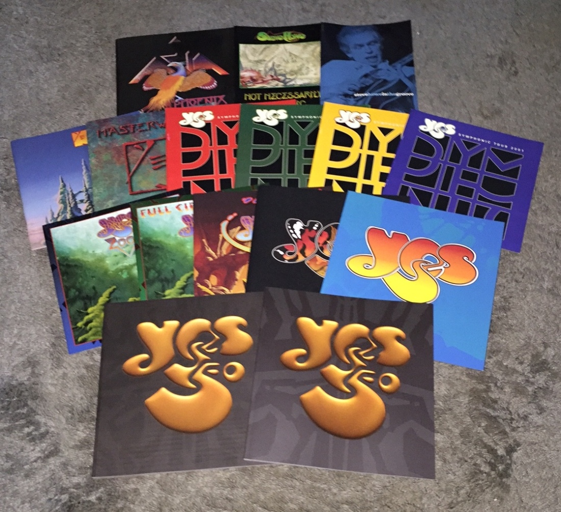 This selection of Yes, Asia and Steve Howe concert tour books written, designed, photographed and produced by Gottlieb Bros. will be auctioned off for charity